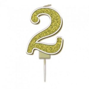 Sparkling Fizz Gold 7.5cm Birthday Candle #2