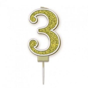 Sparkling Fizz Gold 7.5cm Birthday Candle #3