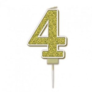 Sparkling Fizz Gold 7.5cm Birthday Candle #4