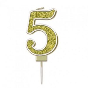 Sparkling Fizz Gold 7.5cm Birthday Candle #5