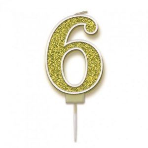 Sparkling Fizz Gold 7.5cm Birthday Candle #6