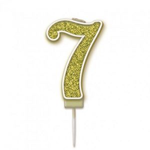 Sparkling Fizz Gold 7.5cm Birthday Candle #7