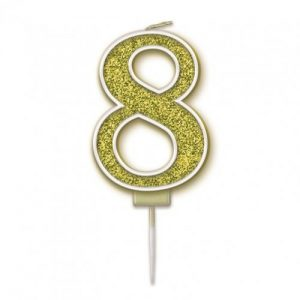 Sparkling Fizz Gold 7.5cm Birthday Candle #8