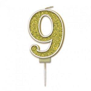 Sparkling Fizz Gold 7.5cm Birthday Candle #9