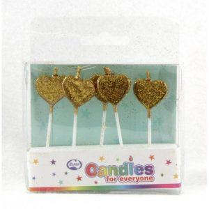 Gold Glitter Heart Candles 5pk