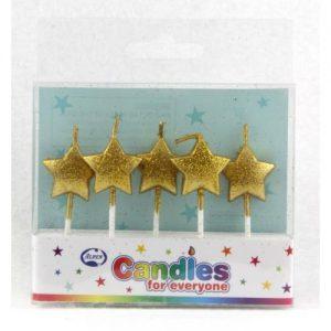Gold Glitter Star Candles 5pk