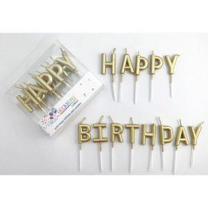 Metallic Gold Happy Birthday Candles