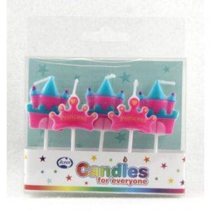 Princess Crown & Castle Candles 5pk