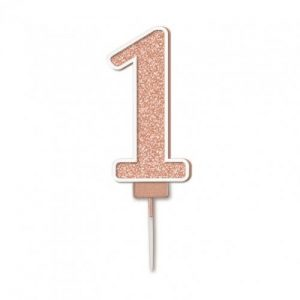 Sparkling Fizz Rose Gold 7.5cm Birthday Candle #1