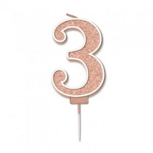 Sparkling Fizz Rose Gold 7.5cm Birthday Candle #3