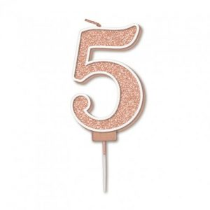 Sparkling Fizz Rose Gold 7.5cm Birthday Candle #5