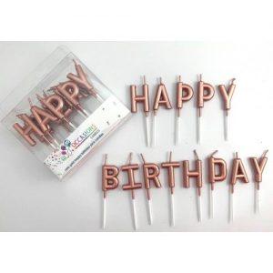 Metallic Rose Gold Happy Birthday Candles