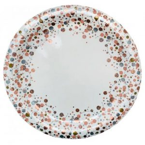 "Sparkling Fizz Rose Gold 9"" Plates 8pk"