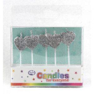 Silver Glitter Heart Candles 5pk