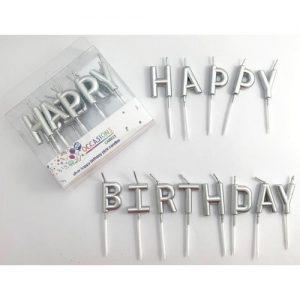 Metallic Silver Happy Birthday Candles