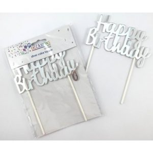 Metallic Silver Happy Birthday Cake Topper