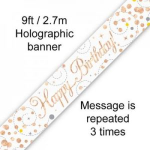 Sparkling Fizz Rose Gold Happy Birthday Banner 2.7m