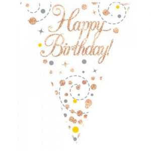 Sparkling Fizz Rose Gold Happy Birthday Bunting 3.9m