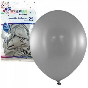 Alpen Balloons Metallic Silver 25pk 30cm
