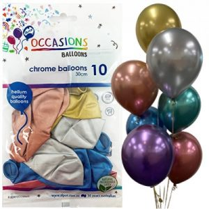 Alpen Balloons Chrome Assorted 10pk 30cm