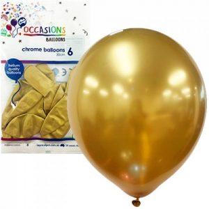 Alpen Balloons Chrome Gold 30cm 6pk