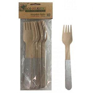 Eco Occasions Silver Wooden Forks 10pk